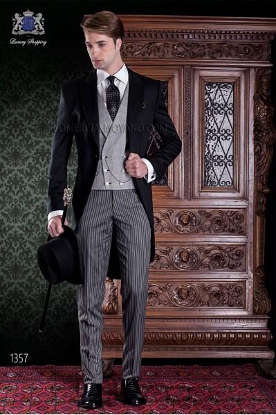 """Chaqué de sastrería italiana 2 piezas, con elegante corte """"Slim"""". Tejido 100% lana negro y pantalón de etiqueta."""