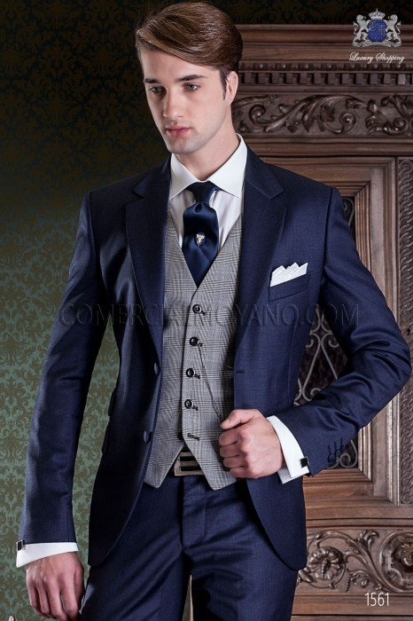 "Italian tailoring suit 2-piece, elegant cut ""Slim"" Match Girl pocket and two buttons. Fil a fil fabric navy pure wool."