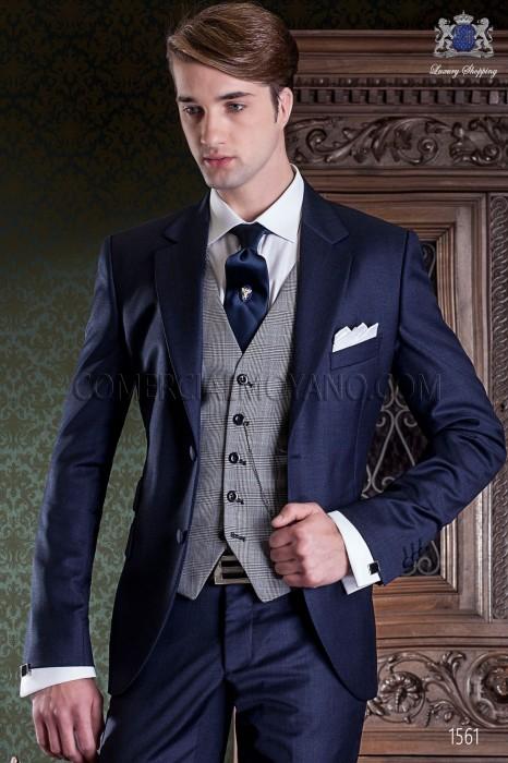 ... costume de mariage bleu marine de pur laine. Italienne couture maillot  2 pièces 80a67428839