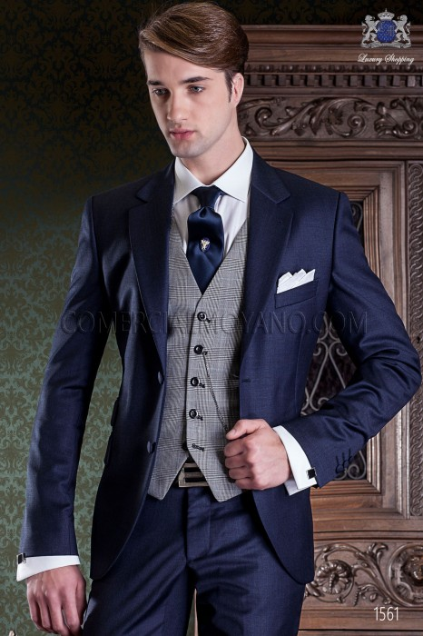 Italian pure wool blue wedding suit Ottavio Nuccio Gala