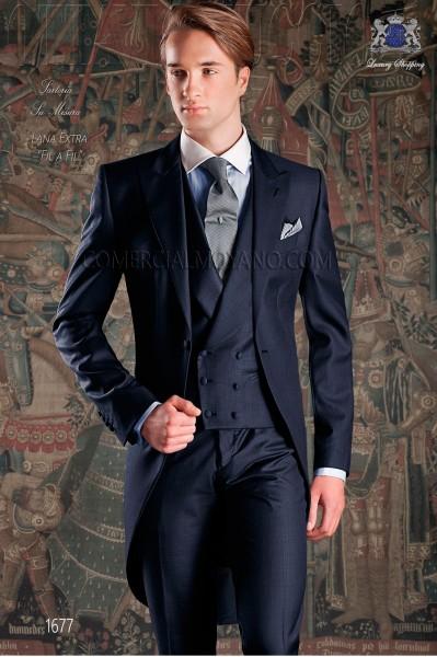 """Chaqué de sastrería italiana 2 piezas, con elegante corte """"Slim"""". Tejido 100% lana azul marino."""