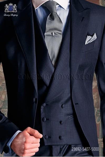 Chaleco de novio cruzado de sastrería italiana, 6 botones. Tejido lana azul.