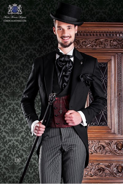 "Italian frock coat tuxedo 2 pieces, with elegant cut ""Slim"". Fabric 100% wool pants and black label."