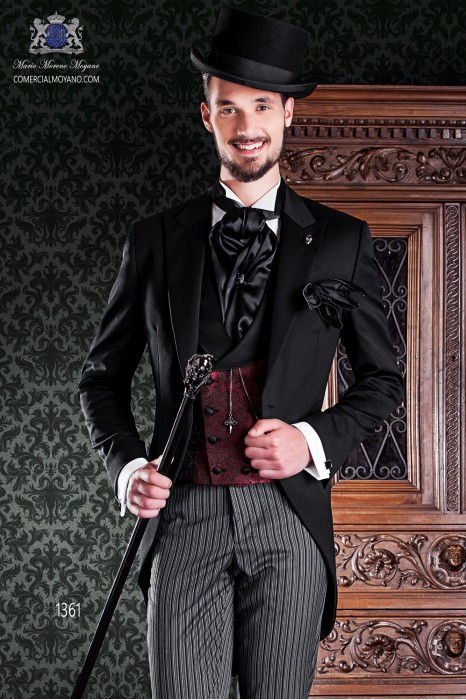 "Italian frock coat tuxedo 2 pieces, with elegant cut ""Slim"". Fabric 100% wool pants and black label."