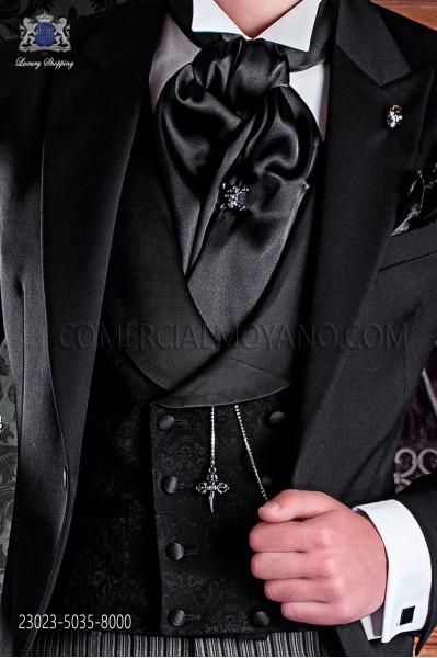 Chaleco de novio cruzado de sastrería italiana, 8 botones. Tejido brocado negro.