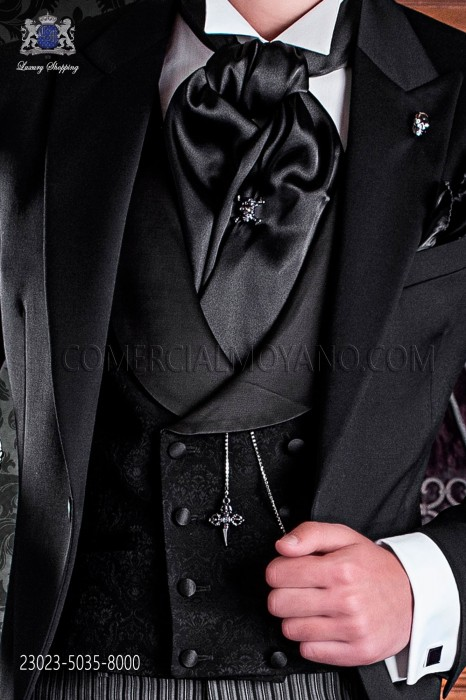 Groom double breasted waistcoat Italian tailoring, 8 button. Black brocade fabric.