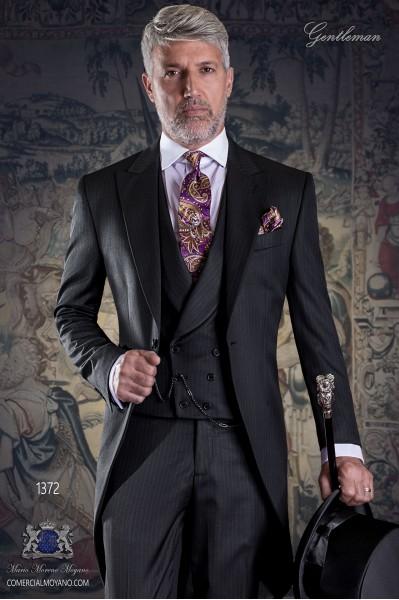 """Frock coat elegant Italian tailoring cut """"Slim"""". Pinstriped fabric."""