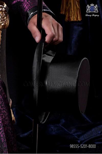 Sombrero de copa en raso negro