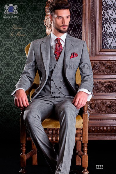 """Italian tailoring suit stylish cut """"Slim"""" two buttons. Prince of Wales fabric with thin red stripe."""