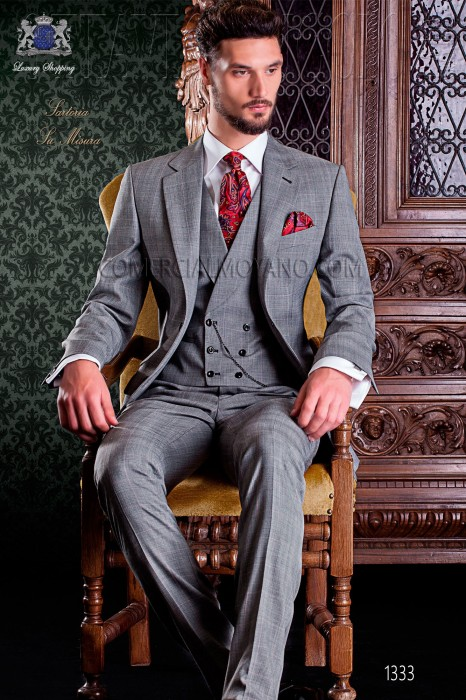 "Italian tailoring suit stylish cut ""Slim"" two buttons. Prince of Wales fabric with thin red stripe."