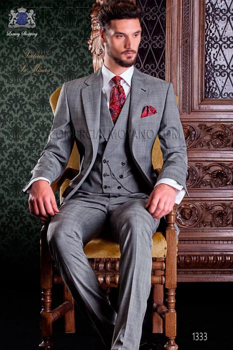 Italian grey Prince of Wales wedding suit Ottavio Nuccio Gala