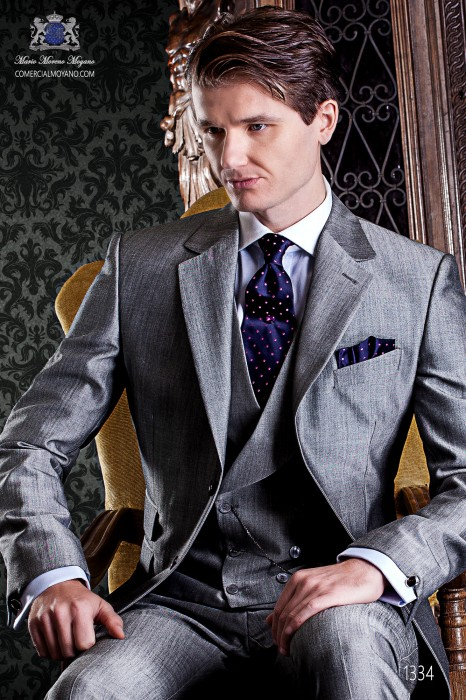 "Italian tailoring suit stylish cut ""Slim"" two buttons. Pearl gray woven alpaca wool."