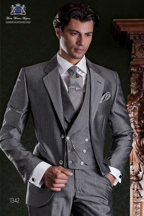 "Italian tailoring suit stylish cut ""Slim"". Medium gray woven alpaca wool."