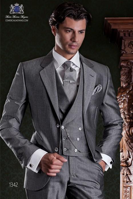 "Italian tailoring suit stylish cut ""Slim"". Medium gray woven alpaca wool."