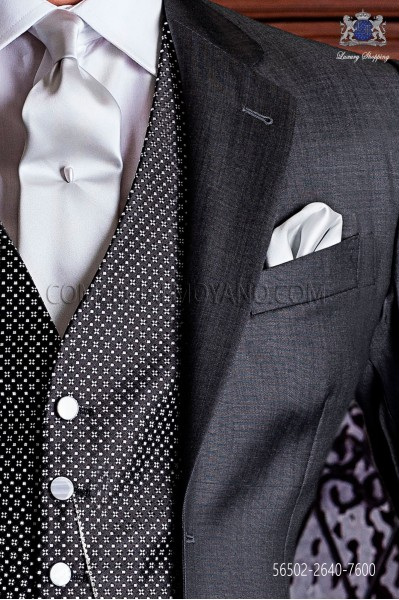 Mauve satin tie and handkerchief