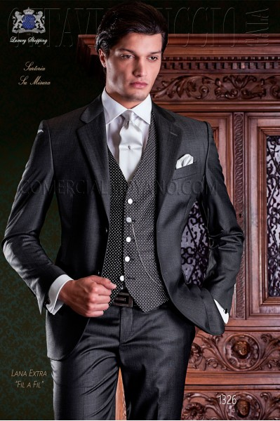 "Italian tailoring suit 2-piece, elegant cut ""Slim"" two buttons. Fil a fil fabric charcoal gray."