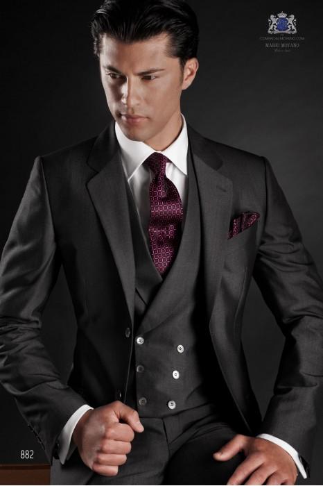 Italian gray wool mohair wedding suit