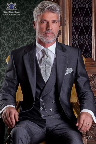"""Traje de sastrería italiano de elegante corte """"Slim"""", dos botones. Tejido lana de alpaca gris marengo."""
