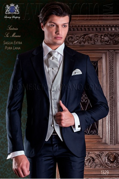 "Italian tailoring suit 2-piece, elegant cut ""Slim"" Match Girl pocket and two buttons. Cool blue wool fabric."