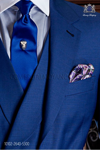 Blue satin tie