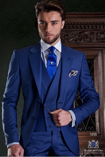 "Italian tailoring suit stylish cut ""Slim"" Match Girl pocket and two buttons. Cool blue wool fabric."