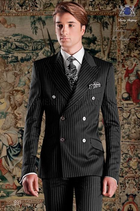 Italian double breasted black groom suit