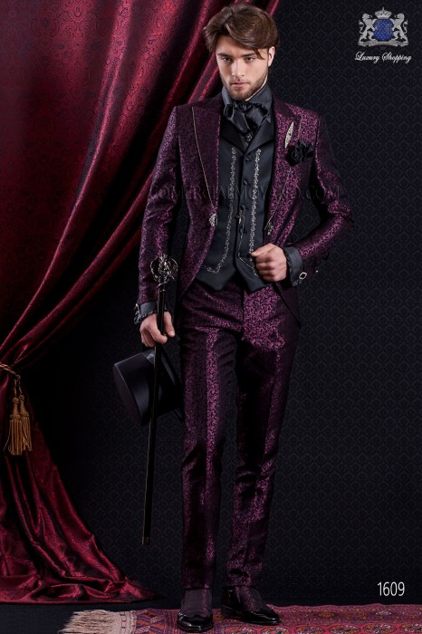 Groomswear Baroque. Vintage suit coat black fabric crystal rhinestones on the lapels and burgundy brocade.