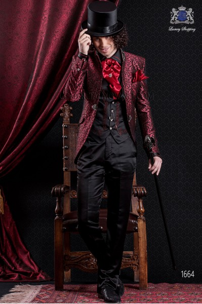 Groomswear Baroque. Suit coat in vintage red and black brocade fabric with mandarin collar. Pants in black satin.