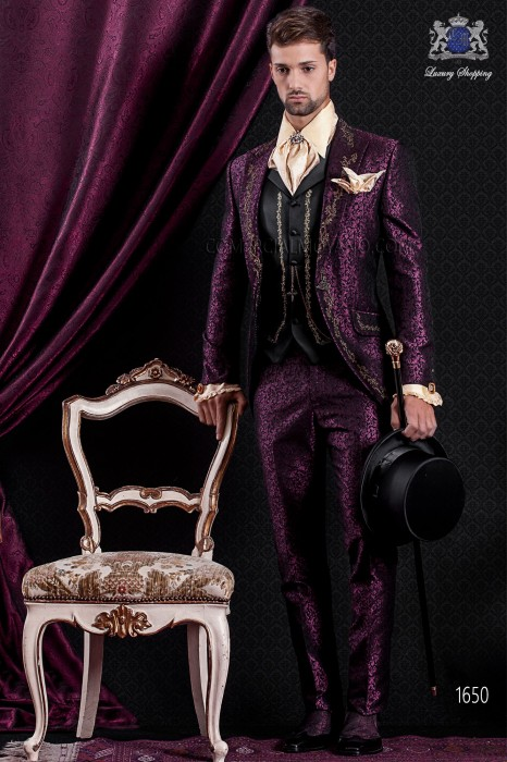 Groomswear Baroque. Suit coat black vintage fabric with gold embroidery yarns maroon brocade.