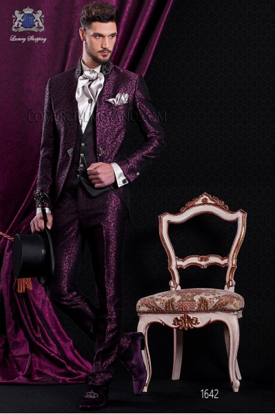 Groomswear Baroque. Suit coat black vintage fabric with mandarin collar and rhinestone garnet brocade.