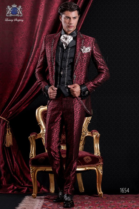 Groomswear Baroque. Suit coat black vintage fabric with silver embroidery and red brocade.