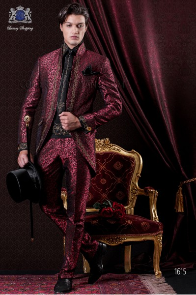 Groomswear Baroque. Suit coat in vintage red and black brocade fabric with gold embroidery.