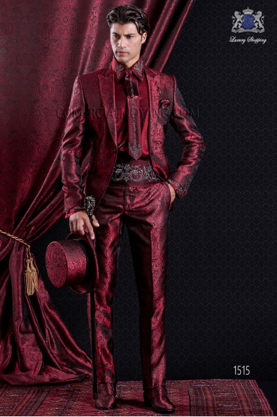 Groomswear Baroque. Suit coat in vintage red and black Jacquard tipped lapels.