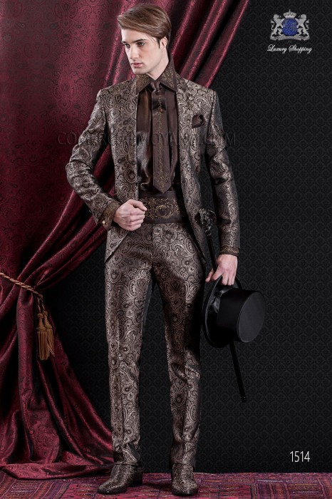 Groomswear Baroque. Vintage suit coat in brown and gold jacquard fabric with pointed lapels.