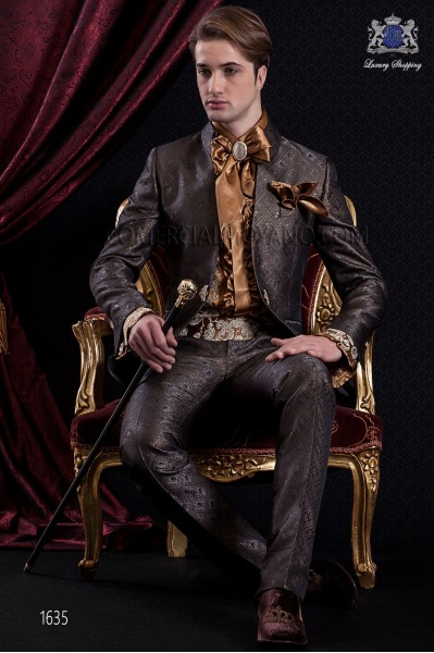 Groomswear Baroque. Suit coat of gray-time gold brocade fabric.