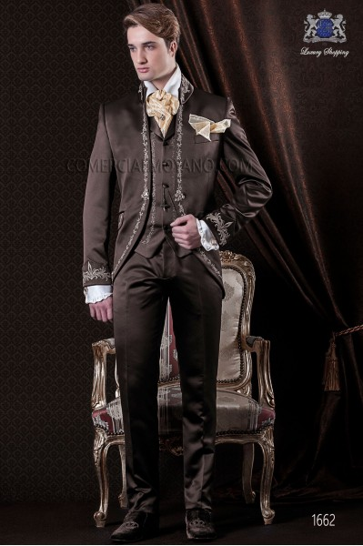 Groomswear Baroque. Vintage suit coat brown satin fabric with gold embroidery.