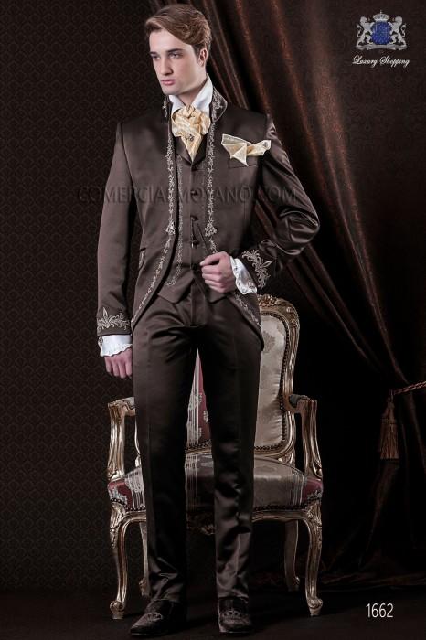 italienisch freund braunen anzug barock schokoladensatingewebe. Black Bedroom Furniture Sets. Home Design Ideas