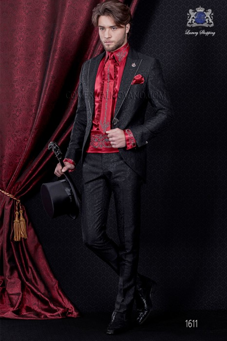 Groomswear Baroque. Vintage costume frock coat in black brocade fabric color.