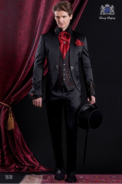Groomswear Baroque. Vintage costume satin coat black fabric with neck Napoleon