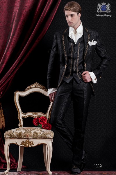 Groomswear Baroque. Vintage suit coat black brocade fabric with gold embroidery.