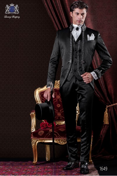 Groomswear Baroque. Suit coat of time spinning black satin with silver embroidery.