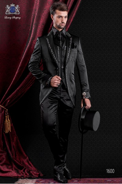 Groomswear Baroque. Vintage suit coat black satin fabric with silver embroidery.