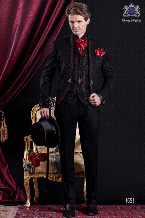 Groomswear Baroque. Vintage suit coat black brocade fabric with mandarin collar.
