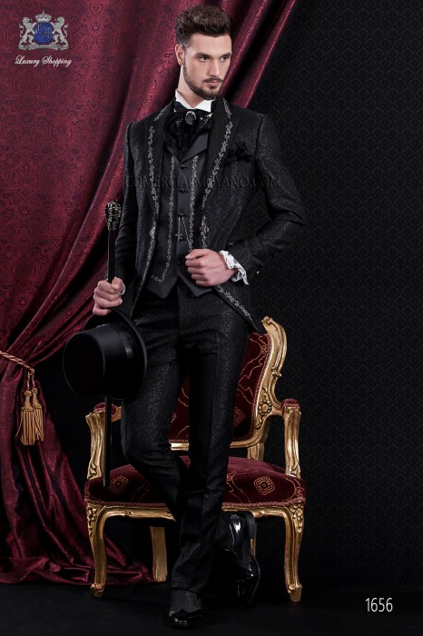 Groomswear Baroque. Vintage suit coat black brocade fabric with silver embroidery.