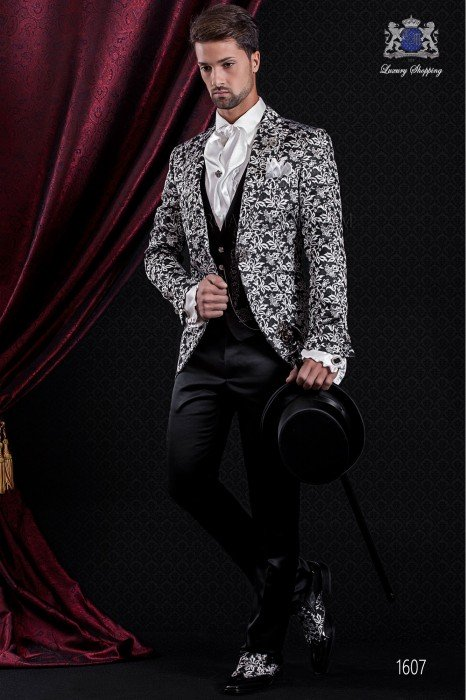 Groomswear Baroque. American vintage fabric coat black / white floral brocade. Black satin pants.