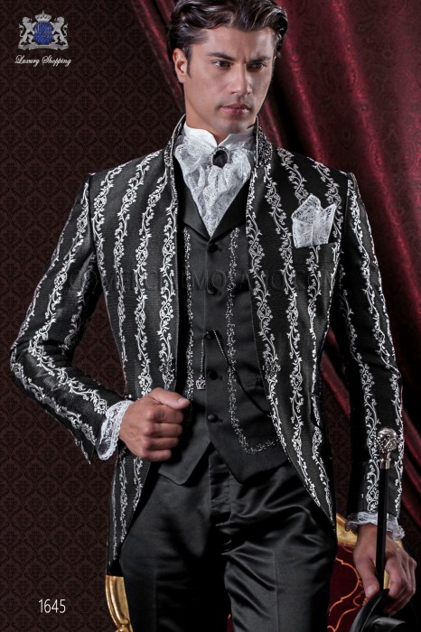 costume de petit ami italien baroque satin noir brocart. Black Bedroom Furniture Sets. Home Design Ideas