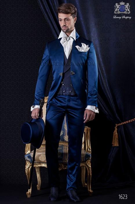 Groomswear Baroque. Levita satin vintage fabric with blue turtleneck and fantasy brooch.