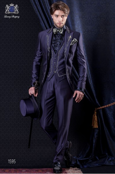 Groomswear Baroque. Levita of time new performance fabric with blue embroidery.