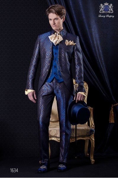Groomswear Baroque. Frock coat vintage blue brocade fabric with 7 buttons fantasy.