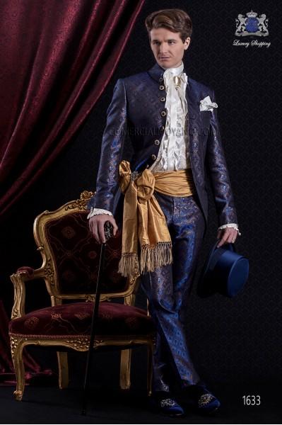 Traje de novio Barroco. Levita de época en tejido brocado azul con 7 botones fantasía.